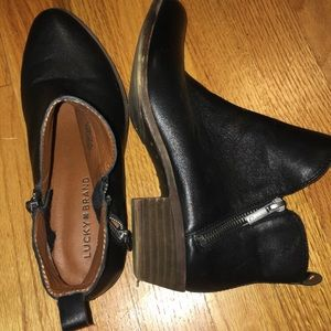 Black leather Lucky brand booties, 7.5, never worn
